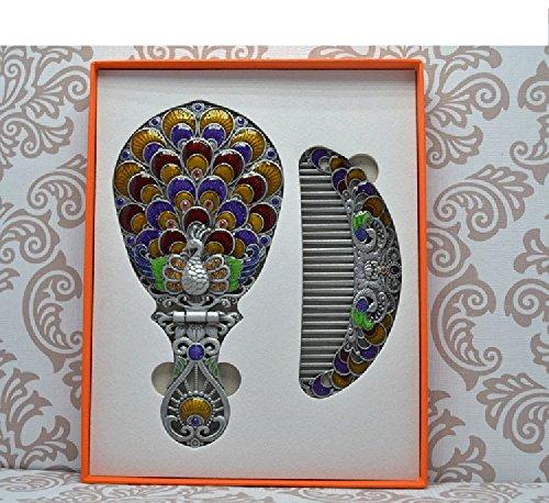 Manija espejo de mano retro Cuna de mesa Espejo Princesa Espejo Espejo de baño portátil (Color : Blue)