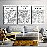 Mapa Famoso Nórdico Lienzo Pintura Decoración para el hogar Arte de la Pared Londres París Milán Negro Sala de Estar Oficina Hotel Cartel Telón de Fondo 40x60cmx3 Sin Marco