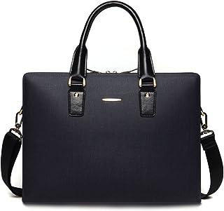 BOSTANTEN Leather Lawyers Briefcase Shoulder Laptop Business Slim Bags for Men & Women Blue