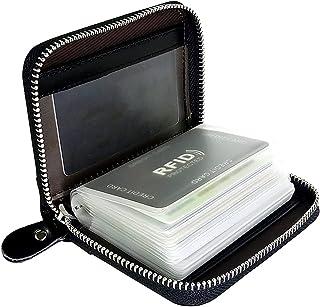 EASTVIO RFID Blocking Credit Card Holder for Women Men Genuine Leather Wallet Organizer Zipper Money Case (Sand Leather,Bl...