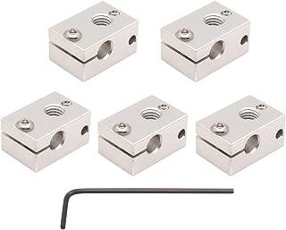 WINSINN 3D Printer Sensor Heater Block, Compatible with E3D V6 J-Head RepRap Bowden Hotend Extruder for HT-NTC100K PT100 - Aluminum (Pack of 5Pcs)
