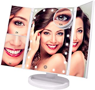 Lighted Makeup Mirror - with 10X 3X 2X Magnifying Mirror, Tri-Fold Mirror with 21 LED Lights, Touch Screen Switch, 180° Ad...
