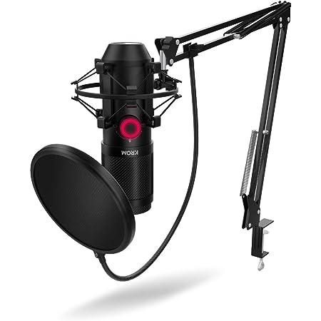KROM KAPSULE - NXKROMKPSL - Kit de micrófono Streaming, unidireccional con Dos condensadores de cápsula, Audio 3.5mm, Montura Anti-Shock y Filtro Pop. Compatible con Windows & MacOS