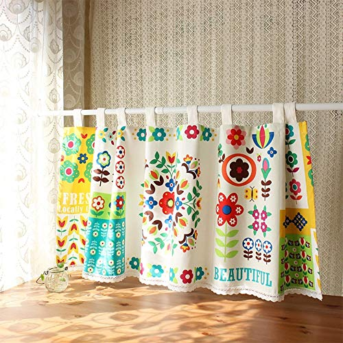 YCMY Cafe Curtain Short Curtain for Kitchen Natural Cotton Linen Cafe Net Curtain Pastoral Style Bistro Curtain Embroidered Half Curtain Window Curtain for Home.