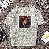 LFMDSY Camiseta de Mujer de Manga Corta Camisas de Verano Ropa Estampada Ropa Vintage Camiseta Vegana Jersey Chemise XL Grey03
