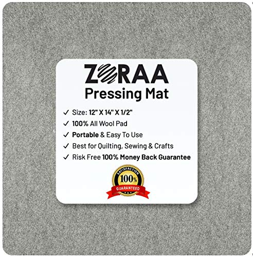 """ZORAA 14""""x12"""" Quilting Pressing Mat - Wool Quilter's Iron Press Mat Providing Professional Ironing Board Results - Portable Heat Press Pad For Travelling Craft Sewing & Applique"""