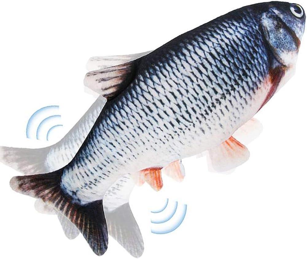 Nepfaivy, pesce giocatto per gatti che si muove, morbido pesce oscillante, si agita ed emette un suono