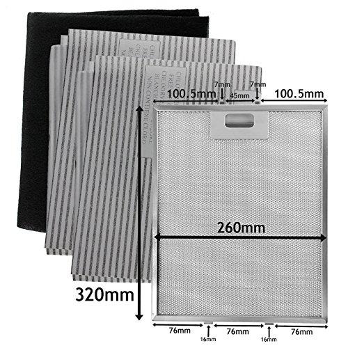 SPARES2GO metalen gaas, koolstof + vetfilters voor afzuigkap/afzuigkap (320 x 260 mm, 4 stuks)