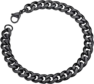 ChainsPro Mens Sturdy Cuban Link Chain Bracelet, 3/6/9/12/14mm Width, 19/21CM Length, 18K Gold Plated/316L Stainless Steel/Black(with Gift Box)