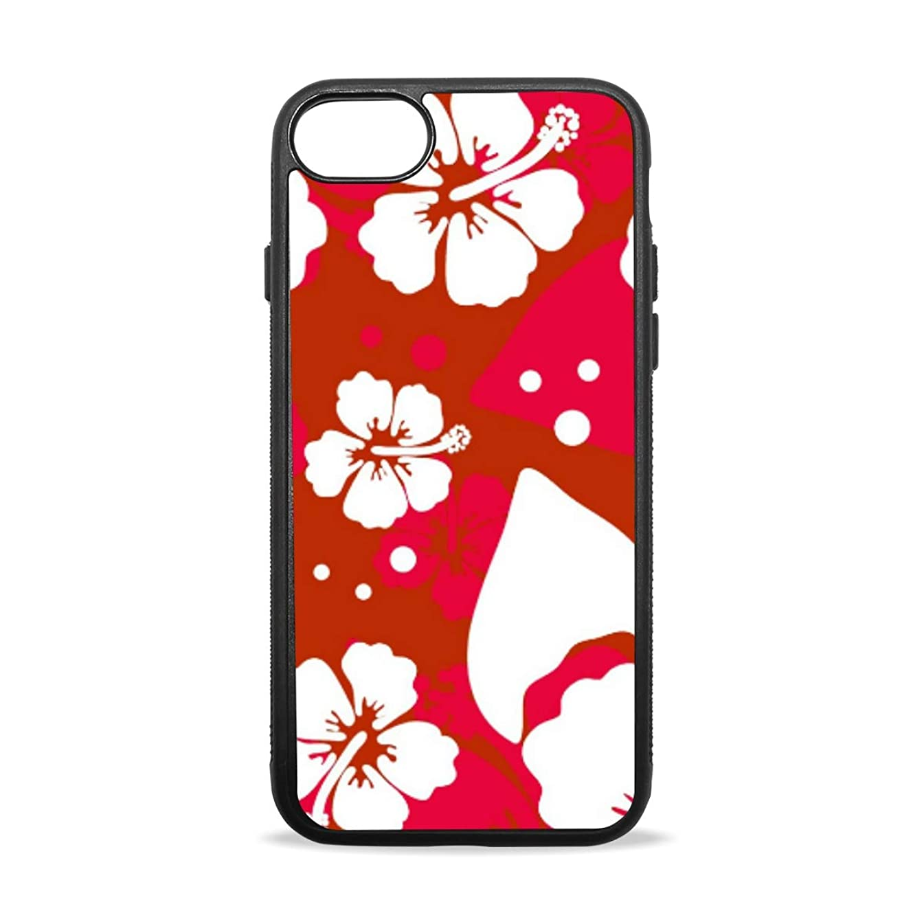 Apple Case Shockproof Slim TPU Protective Cover Hawaiian Red Flower Soft Rubber Silicone Cover Phone Case Compatible with iPhone 7/8 iPhone 7/8 Plus [4.7 inch/5.5 inch]