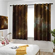 hengshu Constellation Wear-Resistant Color Curtain Dusty Nebula Spiral Galaxy in Billions of Stars Infinity 2 Panel Sets W63 x L72 Inch Pale Coffee Mint Green White