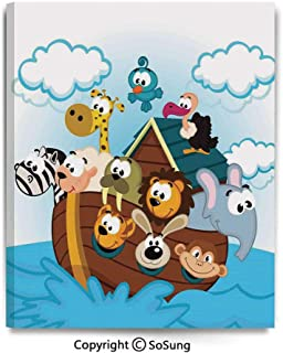 Home Decoration Painting Wall Mural Noahs Ark with Cute Animals Seafaring Comic Style Adventurous Artwork Print Living Room Dining Room Studying Aisle Painting,12x18inches Multicolor