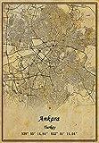 Türkei Ankara-Karte Wandkunst-Poster Leinwanddruck Vintage