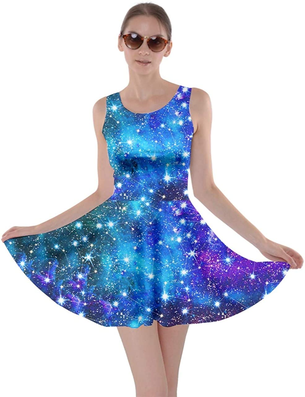 CowCow Womens Starry Night Sky Moon Stars Space Constellations Planets Mrs Frizzle Skater Dress, XS-5XL