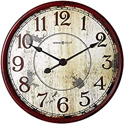 "Howard Miller Back 40 Wall Clock 625-598 – 32"" Antique Red Distressed Decor with Quartz Movement"