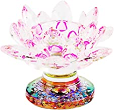 F Fityle Glass Crystal Lotus Flowers Candle Tea Light Holder Art Craft Table Decoration for Christmas Home Wedding Party F...