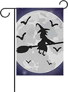 lightly Sweet Home Garden Flag Vertical Double Sided Spring Summer Silhouettes of Witches and Bats Outdoor Yard Flags Decorative 28x40 Inch