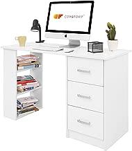 COMIFORT T04B – Escritorio con Cajones y Estantes, Mesa De Oficina, Escritorios De Despacho, 120x49x72 Cm, Color Blanco