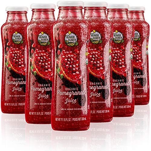 Heaven & Earth 100% Pure Organic Pomegranate Juice 11.15oz (6 Pack), NO Concentrate! Cold Pressed, Non GMO Verified, No Sugar Added, No Preservatives