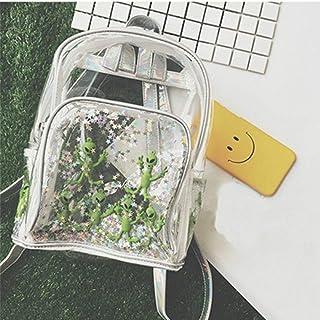 Harajuku Transparent Laser PVC Backpack Women Bookbag Laser Alien Star Women Travel Backpack Clear Itbag Bag for Teenage Girls,Clear