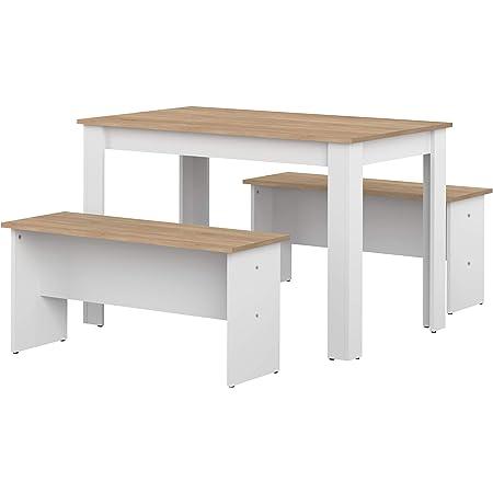 Marque Amazon -Amazon Basics - Table de salle à manger avec 2bancs, 110x70x73cm (longueurxprofondeurxhauteur), Blanc et finition chêne