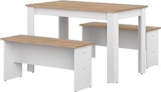 Marque Amazon -Amazon Basics - Table de salle à manger avec 2bancs, 110x70x73cm (longueurxprofondeurxhauteur), ...