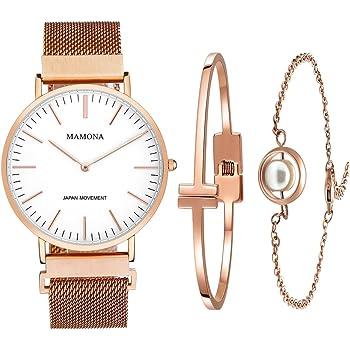 MAMONA Women's Rose Gold Quartz Watch Set Waterproof Wristwatch Ultra Thin L3881RGGT