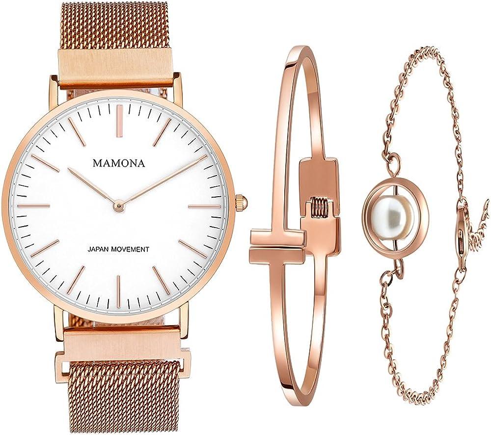 Mamona set regalo con orologio da donna in acciaio inossidabile L3881RGGT