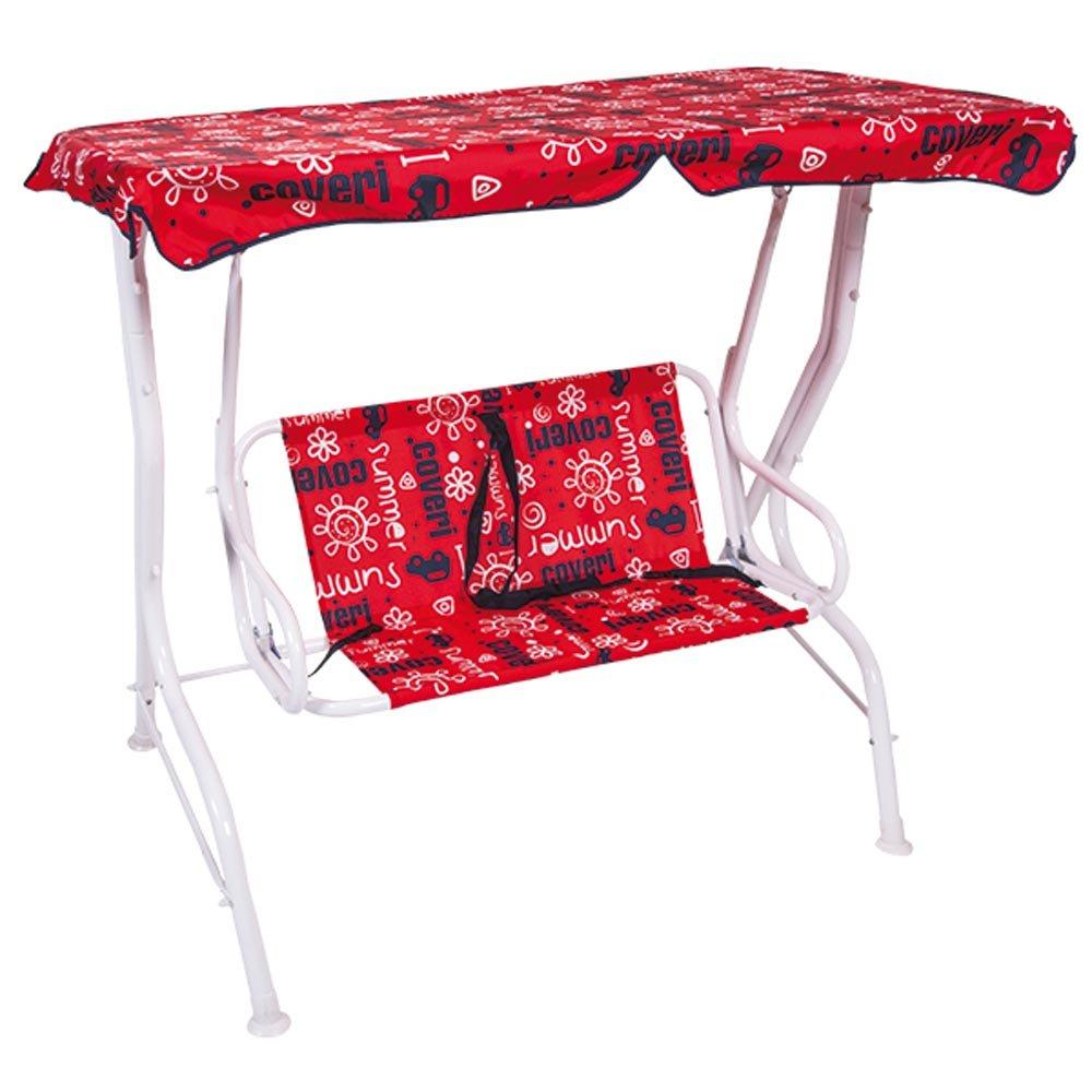 Bakaji Balancín para niños columpio de jardín 2 plazas Baby de acero y Oxford con parasol 111 x 71 x 117 cm, rojo: Amazon.es: Jardín