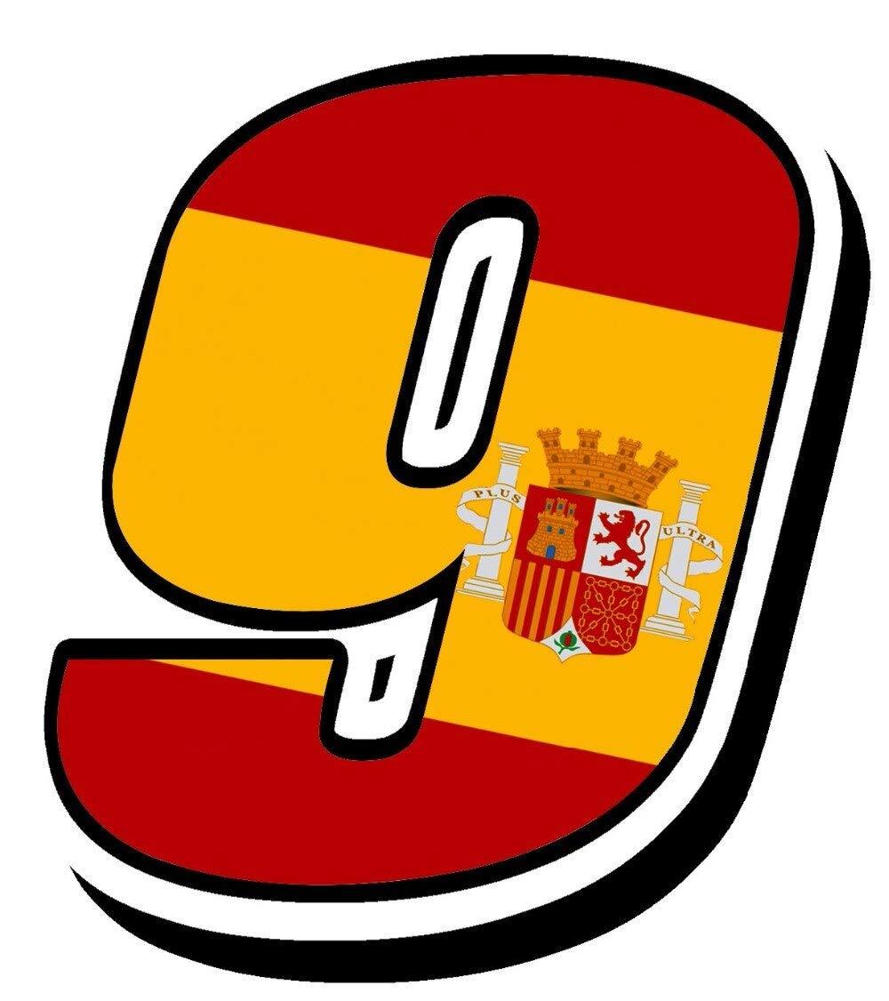 20 cm de alto España Bandera española Portugal Car Styling Racing Número 9 Motocross Auto Stickers Bike Car Calcomanías impermeables-Puedes elegir dos números: Amazon.es: Bricolaje y herramientas