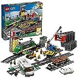 LEGO 60198 City Tren de mercancías, Juguete de Construcción con Motor a Control Remoto Bluetooth con 3 Vagones y Mini Figuras