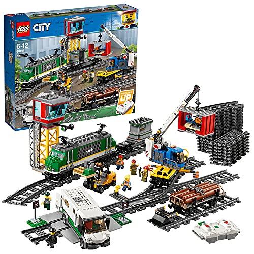 LEGO 60198 City Güterzug, Set mit batteriebetriebenem Motor für Kinder ab 6 Jahren, Bluetooth-Fernbedienung, 3 Wagen, Gleise und Zubehör