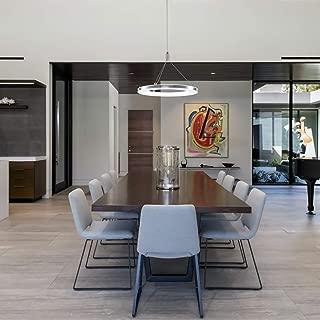 CHYING Modern Pendant Light, Mini LED Chandeliers Ceiling Light, 1-Ring, 15W, Cool White, 6500K, Adjustable Height Hanging Light Fixture for Kitchen Island, Dining Room, Restaurant