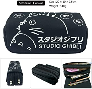 1 Pcs Black Totoro Large Big Capacity Canvas Double Zipper Anime Cartoon Animal Pen Bag Pencil Case Game Cosmetic Makeup Pouch Stationery Office School Supplies Holder Kid Gift Set