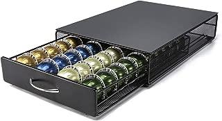 Vertuo Capsule Holder HiveNets Coffee Machine Stand Metal Storage Drawer Dispenser Compatible for Nespresso Vertuoline 40 PCS Capacity Multiple Flavors Pods Organizer Black