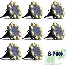 Luzes de solo solar branco quente – [Super brilhante e de longa dura] JESLED Outdoor IP67 à prova d'água, 8 luzes de LED p...