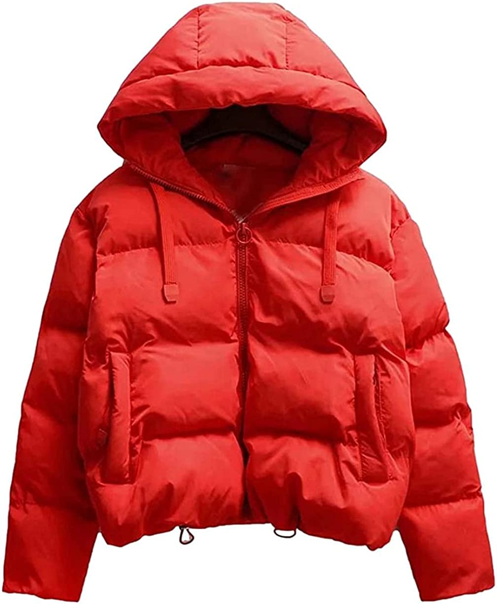 Women's Hooded Down Jacket Thick Warm Zip Down Quilted Coats with Pocket