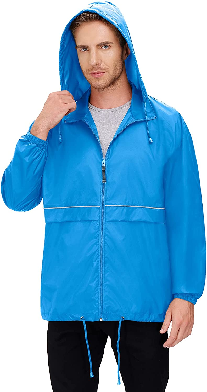 Men's Rain Coat Jacket Waterproof Raincoat Hooded Hiking Rain Jacket Running Jackets Windbreaker Fishing Rain Coat