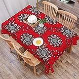 Mantel Antimanchas Rectangular Impermeable,Mandala roja, imagen inspirada de diseño de malla victoriana de remolino ,Manteles Mesa Decorativo para Hogar Comedor del Cocina,(140 x 200 cm/55*78 pulgada)