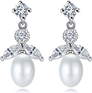 Sterling Silver Jewelry By CS-DB Clear Round CZ Shell White Pearl Trendy Lady Party Wear Stud Earrings