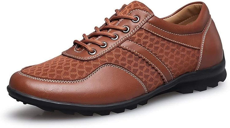 FuweiEncore Herren Mokassins Schuhe, Herren Driving Loafer Flache Ferse Lace up Volltonfarbe British Style Splice Vamp Modische Schuhe (Farbe   Blau, Größe   43 EU) (Farbe   Khaki, Größe   38 EU)