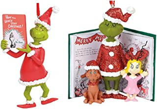 Enesco Gift Dept 56 2019 How The Grinch Stole Christmas Ornament Bundle: Grinch with Book and Grinch, Cindy Lou Who and Max with Book