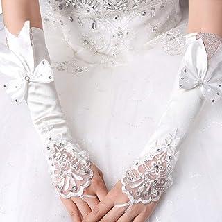 MoreChioce Donna Rhinestone Guanti in Pizzo Senza Dita Gomito Lungo Guanti Sposa per Matrimonio Nuziale,Abito da Prom,Cele...
