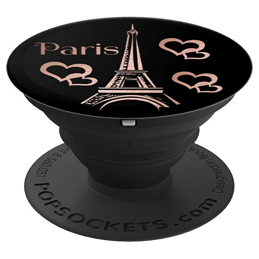 Eiffel Tower, Paris and hearts, rose pink, black phone grip - PopSockets Grip and Stand for Phones and Tablets