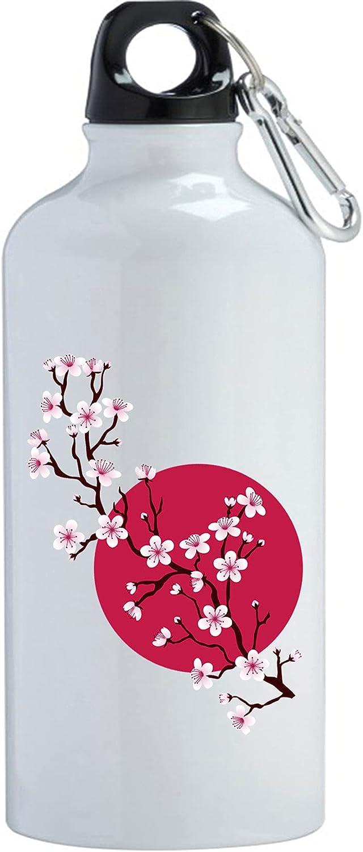 Sakura Cherry Blossoms Japan - Botella de agua para sol, acero inoxidable, 400 ml, color blanco