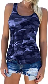 Zcavy Women's Activewear Tops Camouflage Print Cotton Stretchy Tee Racerback Tanks Tops