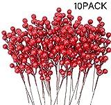 LSKY 10 Stück künstliche rote Beeren Stiele Stechpalme Weihnachtsbeeren für Basteln