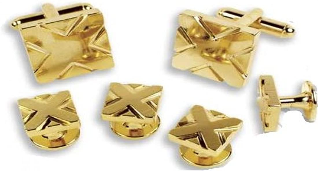 Square Design With X Detail Tuxedo Studs and Cufflinks Gold Trim