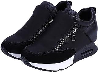 wealsex Cuñas Cierre De Cremallera Zapatos para Correr En Montaña Asfalto Aire Libre Deportes Zapatillas De Running para M...
