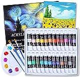 Aottom 24 Colori Acrilici Per Dipingere (24 x 12 ml) Pittura Colori Acrilici Professional Colori Ad Olio Per Pittura per Artisti, 3 Pennelli, 1 Tavolozza, Principianti o Bambini(28 Pezzi)